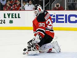Mar 20, 2009; Newark, NJ, USA; New Jersey Devils goalie Martin Brodeur (30) makes a save during the first period of their game against the Minnesota Wild at the Prudential Center.