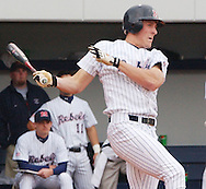 Mississippi's Stephen Head drives in two runs with a double in the third inning against Florida at Oxford-University Stadium in Oxford, Miss. Saturday, March 19, 2005. (AP Photo/Bruce Newman,Oxford Eagle)