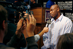 Sept 29, 2009; East Rutherford, NJ, USA; NY Giants running back Brandon Jacobs during the press conference announcing the December 5, 2009 World Middleweight Championship fight between Kelly Pavlik and Paul Williams. The two will meet at Boardwalk Hall in Atlantic City, NJ.  Mandatory Credit: Ed Mulholland