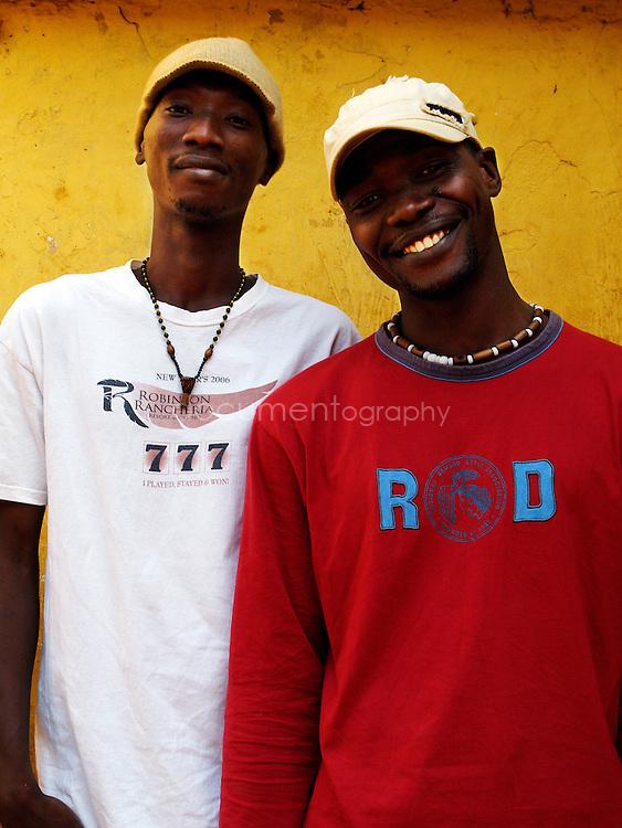 Ragga singers Double K, Koolking (right) and King Osu (left), Kroo Bay, Freetown, Sierra Leone.