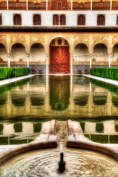 An Inner Courtyard at Palacio de Comares, Alhambra, Granada