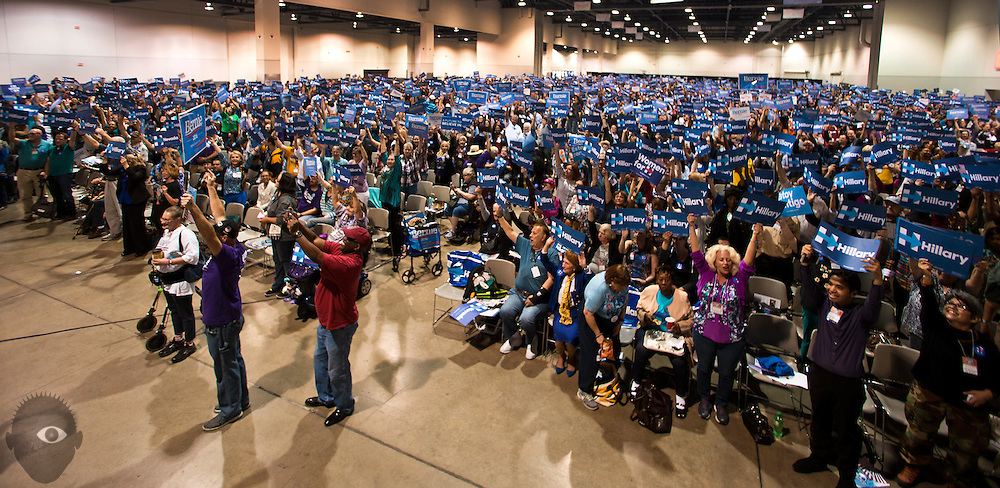 Delegates from the Democratic caucuses share their opinions as they attend the Clark County Convention to elect representatives to the state convention at the Cashman Center on Saturday, April 2, 2016.  L.E. Baskow