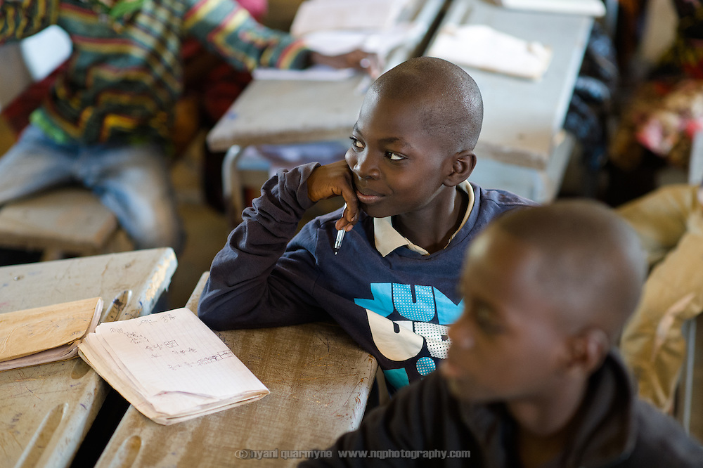Luther Badolo (10) in class in the village of Toussiana in the Hauts-Bassins region of Burkina Faso, on 22 February 2016.