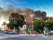Smoke fills the sky above Barracks Row.
