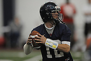 Quarterback Nathan Stanley (12) looks to pass during Ole Miss' spring practice at the IPF in Oxford, Miss. on Monday, March 28, 2011.