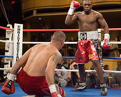 February 17, 2007 - New York, NY - Andre Berto knocks out Norberto Bravo in the 1st round of their welterweight bout at Hammerstein Ballroom in New York City.