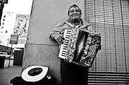 A street performer in downtown L.A.