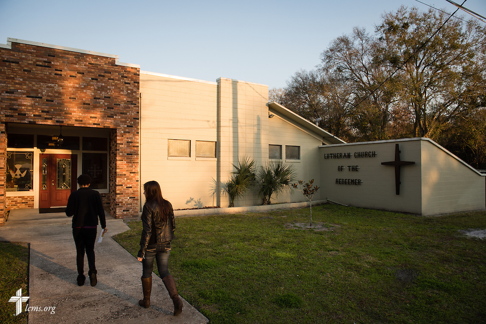 Jenny and Resident Director Rachel Woolery walk to Lutheran Church of the Redeemer on Thursday, Feb. 12, 2015, in Sanford, Fla. LCMS Communications/Erik M. Lunsford