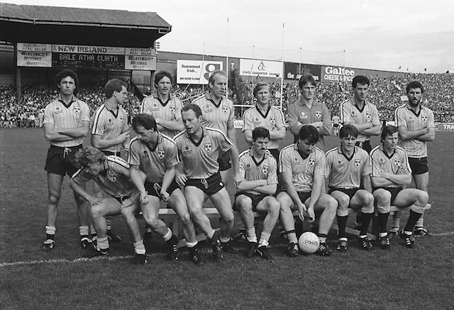 The Dublin team before the All Ireland Senior Gaelic Football Championship Final Kerry v Dublin at Croke Park on the 22nd September 1985. Kerry 2-12 Dublin 2-08. J O'Leary, M Kennedy, G Hargan, R Hazley, P Canavan, N McCaffrey, D Synnott, J Roynane, B Mullins (capt), B Rock, T Conroy, C Redmond, J Kearns, J McNally, K Duff. Subs T Carr for Redmond, P J Buckley for B. Mullins.