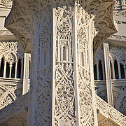 Photo by Leandra Lewis of a section of the Baha'i  Temples pillar and design work, Evanston, Illinois