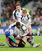 Twickenham, GREAT BRITAIN, Exiles, Steffon ARMITAGE, supported by Tom PARKER and Declan DANAHER, tackled by Quins, George ROBSON, during the EDF Energy Cup rugby match,  Harlequins vs London Irish, at Twickenham Stoop, Surrey on Sat 25.10.2008 [Photo, Peter Spurrier/Intersport-images]