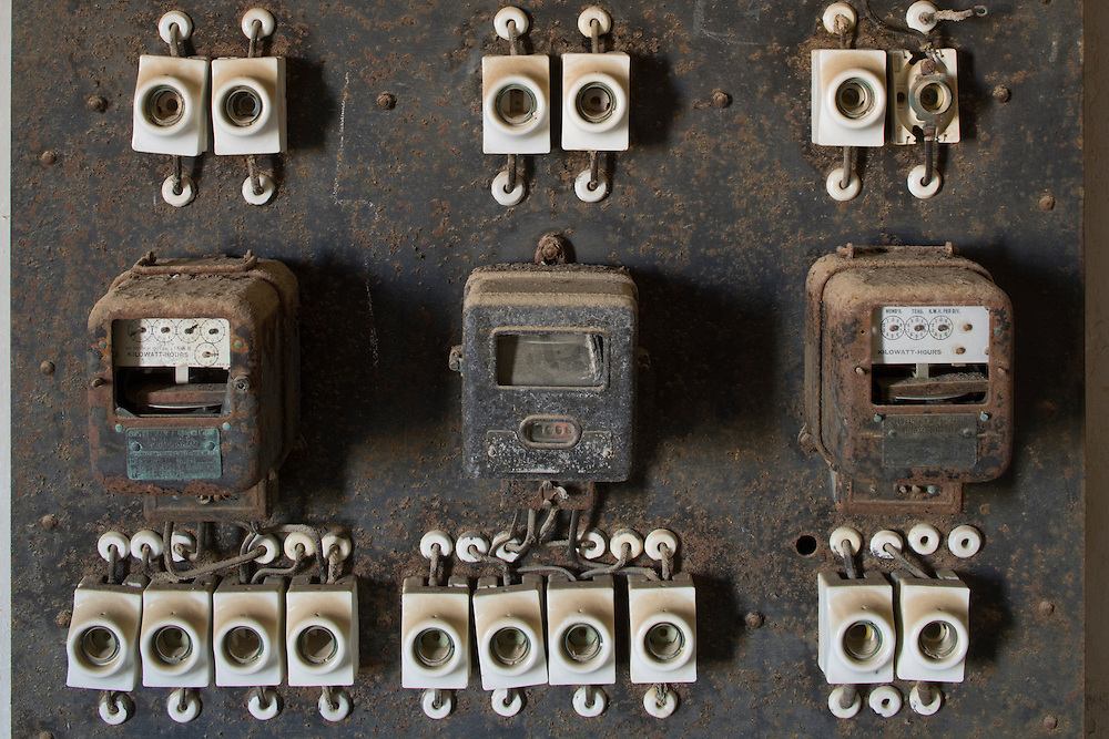 Africa, Namibia, Kolmanskop, Electrical board and fuses inside building in ghost town of abandoned diamond mining town