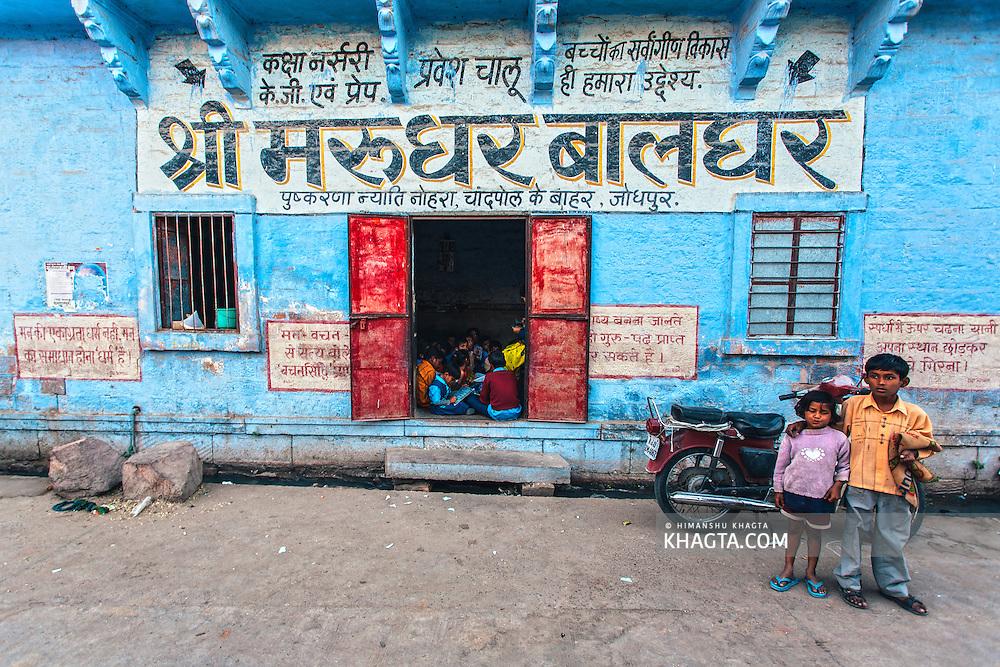 Kids standing outside a school in Jodhpur