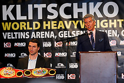 Apr 23, 2009; New York, NY, USA; IBF, WBO, IBO World Heavyweight Champion Wladimir Klitschko (l) and challenger David Haye (r) pose at the press conference announcing their upcoming fight.  The two will meet on June 20, 2009 at Veltins-Arena Soccer Stadium in Schalke, Germany.