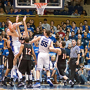 3 November 2009: Dukes #21 Miles Plumlee grabs a rebound..The Duke Blue Devils defeat the Findlay Oilers 84 -48 in an exhibition game. Kyle Singler had 20 points as Duke wraps up it's pre-season.. Mandatory Credit:Mark Abbott / Southcreek Global
