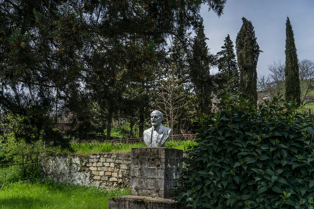 HAKOB KAMARI, NAGORNO-KARABAKH - APRIL 20: A crumbling statue of a town official on April 20, 2015 in Hagob Kamari, Nagorno-Karabakh. Since signing a ceasefire in a war with Azerbaijan in 1994, Nagorno-Karabakh, officially part of Azerbaijan, has functioned as a self-declared independent republic and de facto part of Armenia, with hostilities along the line of contact between Nagorno-Karabakh and Azerbaijan occasionally flaring up and causing casualties. (Photo by Brendan Hoffman/Getty Images) *** Local Caption ***