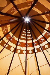 Interior of a tipi. Taos, New Mexico.
