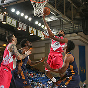 Delaware 87ers Forward ROSCOE SMITH (31) drives towards the basket as Salt Lake City Stars Center HENRY SIMS (41) looks on in the first half of an NBA D-league regular season game between the Delaware 87ers and the Salt Lake City Stars (Utah Jazz) Friday, March 17, 2017 at The Bob Carpenter Sports Convocation Center in Newark, DEL
