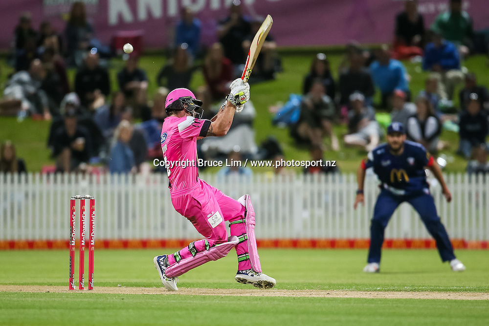 Knights' Joe Carter is hits on the helmet by Auckland Aces' Tymal Mills during the McDonalds Super Smash T20 cricket match - Knights v Aces played at Seddon Park, Hamilton, New Zealand on Saturday 17 December.<br /> <br /> Copyright photo: Bruce Lim / www.photosport.nz