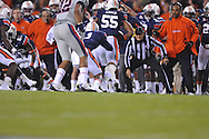 Ole Miss' Nickolas Brassell(2) fumbles at Jordan-Hare Stadium in Auburn, Ala. on Saturday, October 29, 2011. .