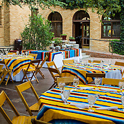 Outdoor eating area at the Gage Hotel, in Marathon, Texas. west Texas.