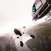 A special ride on a cloudy and rainy day in Lysebotn, Norway.