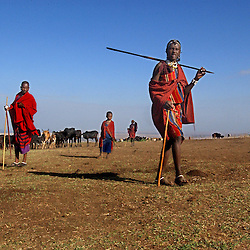 Masai pastoralists collect water in Endulen  in Ngornogoro District in Tanzania September 30 2003.  The Masai were thrown out of the Crater in 1972 and struggle to hang onto the lands they live on now because of increasing pressure from conservationists. (Ami Vitale)