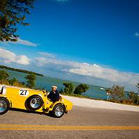 SARASOTA, FL -- October 2012 -- A classic car heads pass New Pass on City Island in Sarasota, Florida.  (PHOTO / CHIP LITHERLAND)
