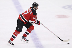 May 3, 2012; Newark, NJ, USA;  New Jersey Devils left wing Ilya Kovalchuk (17) skates with the puck during the first period in game three of the 2012 Eastern Conference semifinals at the Prudential Center.