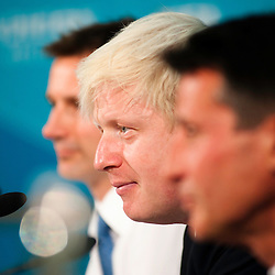 London, UK - 13 August 2012: Boris Johnson during the final press conference of the Olympic Games to discuss the success of London 2012.