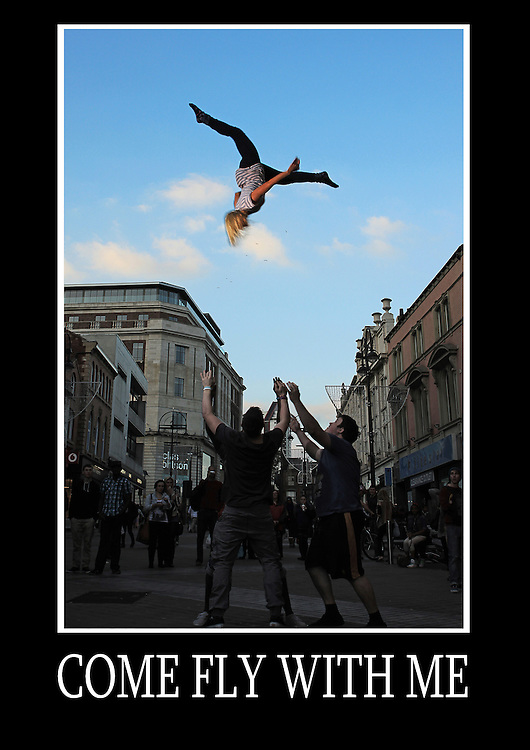 Motivational poster of a cheerleading pike split double full basket toss done on Leeds city centres main shopping street, Briggate.<br /> Measures 33 x 23.5 inches/A1     &pound;9.99
