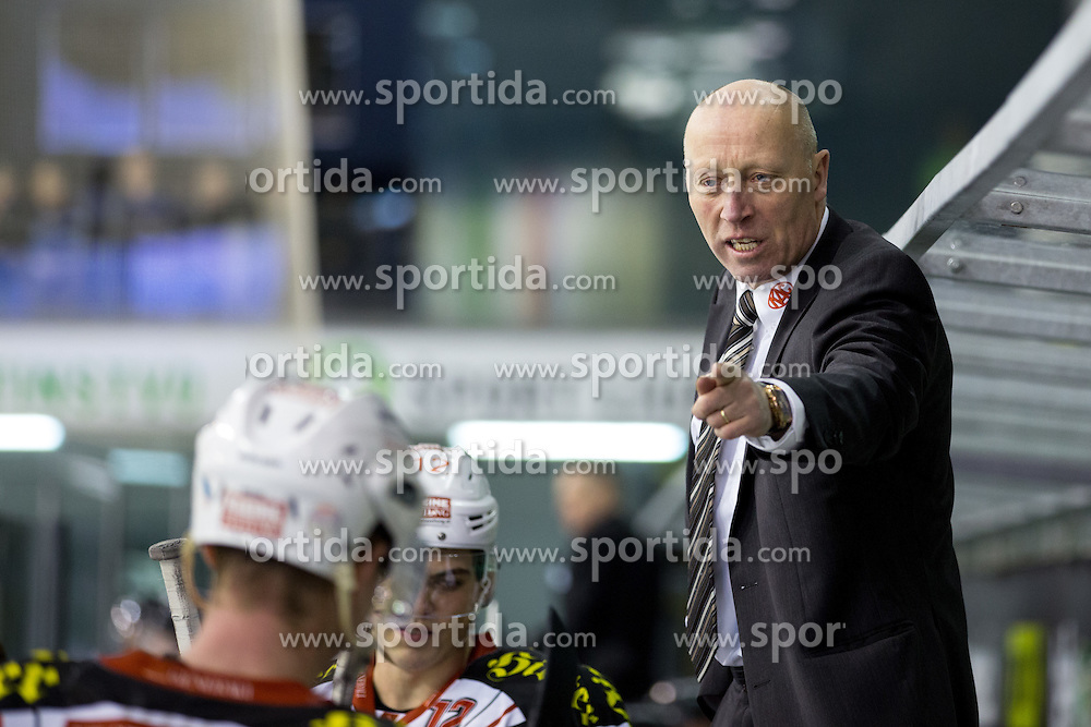 17.02.2015, Hala Tivoli, Ljubljana, SLO, EBEL, HDD Telemach Olimpija Ljubljana vs EC KAC, 4. Qualification Round, in picture Doug Mason (head coach of KAC) during the Erste Bank Icehockey League 4. Qualification Round between HDD Telemach Olimpija Ljubljana and EC KAC at the Hala Tivoli, Ljubljana, Slovenia on 2015/02/17. Photo by Morgan Kristan / Sportida