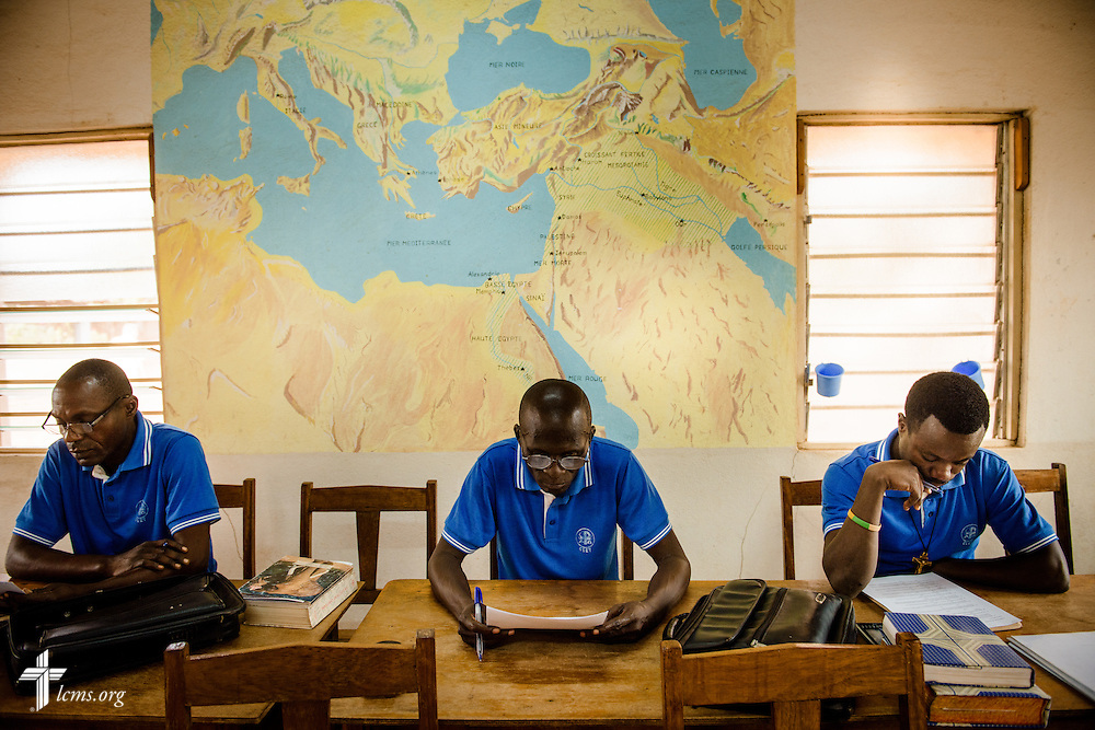 Students take an exam during class at the Lutheran Center for Theological Studies (CLET) on Wednesday, Feb. 15, 2017, in Dapaong, Togo. LCMS Communications/Erik M. Lunsford