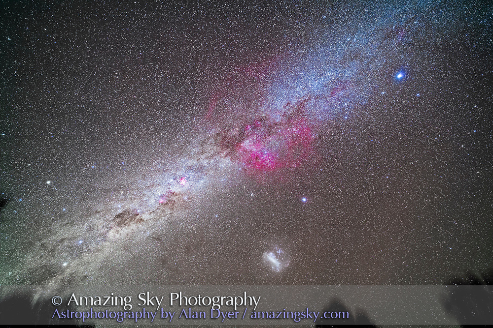 The Milky Way in the southern hemisphere sky from Canis Major at top right to Centaurus at bottom left, from Sirius to Alpha Centauri. At centre is the huge Gum Nebula emission nebula bubble. At left of centre is the Carina Nebula. At bottom is the Large Magellanic Cloud. Crux is at lower left. <br /> <br /> This is a stack of 5 x 3-minute tracked exposures with the filter-modified Canon 5D MkII camera at ISO 2000 and 14mm Rokinon lens at f/2.5. On the iOptron Sky-Tracker, from Tibuc Gardens Cottage, Coonabarabran, NSW, Australia.