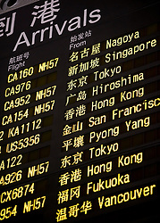 Detail of arrivals board at Terminal 3 at Beijing International Airport