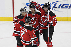 Apr 7; Newark, NJ, USA; The New Jersey Devils celebrate a goal by New Jersey Devils right wing Petr Sykora (15) during the second period at the Prudential Center.
