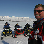 Safari with snowmobiles in the Sylene mountains of Norway.