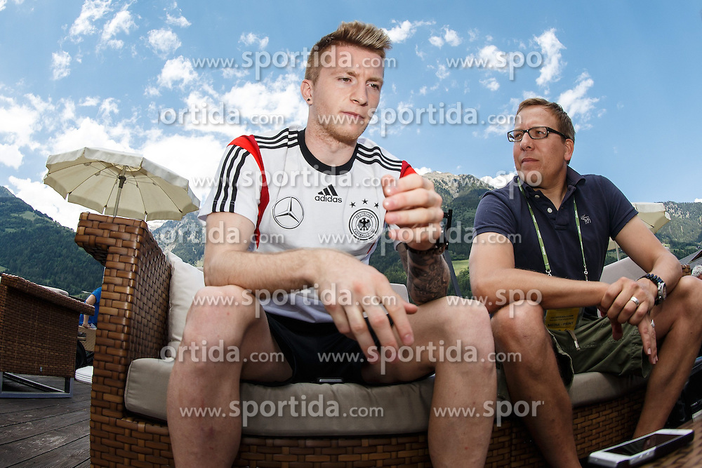 25.05.2014, Mannschaftshotel, St. Martin Passeiertal, ITA, FIFA WM, Vorbereitung Deutschland, im Bild Marco Reus (Deutschland) im Gespraech mit den Journalisten // during Trainingscamp of Team Germany for Preparation of the FIFA Worldcup Brasil 2014 at the Mannschaftshotel in St. Martin Passeiertal, Italy on 2014/05/25. EXPA Pictures &copy; 2014, PhotoCredit: EXPA/ Eibner-Pressefoto/ Neis<br /> <br /> *****ATTENTION - OUT of GER*****