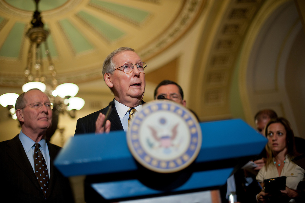Senate Minority Leader MITCH MCCONNELL (R-KY) speaks to the media about the looming deadline for budget negitiations following the weekly policy lunches at the Capitol on Tuesday.