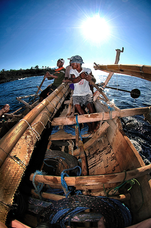 A traditional whaling boat  during a hunt on Lembata Island, Indonesia.
