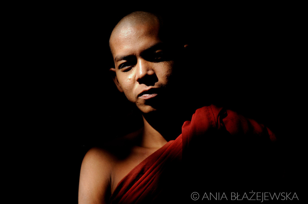 Burma/Myanmar, Amarapura. Portrait of a young monk from Maha Ganayon Kyaung.