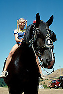 Girl rides Percheron Draft Horse, <br /> MODEL RELEASED
