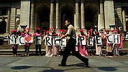 Members of the protest group Code Pink rally against the upcoming Republican National Convention August 13, 2004 in New York. Photo by Keith Bedford