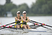 Brandenburg, GERMANY,  AUS, BW2X, Bow, Maja FIDDLER and jacky PEILE, move away from the start at the 2008 FISA U23 World Rowing Championships, {idow], {date}, [Mandatory credit: Peter Spurrier Intersport Images]. Rowing Course: Brandenburg, Havel Rowing Course, Brandenburg, GERMANY