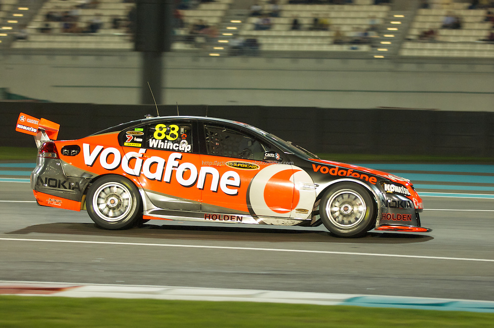 car of winner Jamie Whinncup.YAS V8 400 and BY GP2 ASIA SERIES in yas marina circuit, abu dhabi UAE.11-12 february 2011.winners Jamie Whincup - team vodaphone (1), Alex davidson - irwin racing (2), makr winterbottom - orrcon steel fpr falcon (3)...real action heroes event..Providing the action for the main event are the Australian V8 Supercars, a two-car series of makers Holden and Ford - a close rivalry that runs deep in Australian culture. This season, that rivalry is heightened by the switch of 2010 series Champion James Courtney, who drives with the coveted No.1 plate, from his winning 2010 Ford Falcon to the Holden Commodore for 2011.