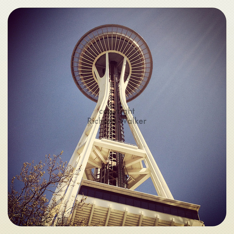 2013 April 22 - View of Space Needle at Seattle Center, Seattle, WA, USA. Taken/edited with Instagram App for iPhone. By Richard Walker