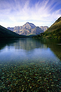 Lake Josephine and Mount Gould in fall. Glacier National Park, Montana
