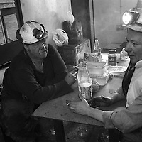 MINERS AFTER THEIR TEN HOURS SHIFT UNDERGROUND AT LONGANNET COLLIERY, CULROSS. SCOTLAND, APRIL, 2001...©JEREMY SUTTON-HIBBERT 2001.