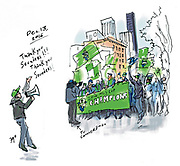 """The Sounders MLS Cup march and rally """"felt like being with a bunch of friends,"""" writes Sketcher Gabriel Campanario. (Gabriel Campanario / The Seattle Times)."""