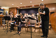 Band director Larry Nobori (right) leads the Minidoka Swing Band during a performance at the 2008 Portland JACL Oshogatsu dinner, Holladay Park Plaza, Portland, Oregon